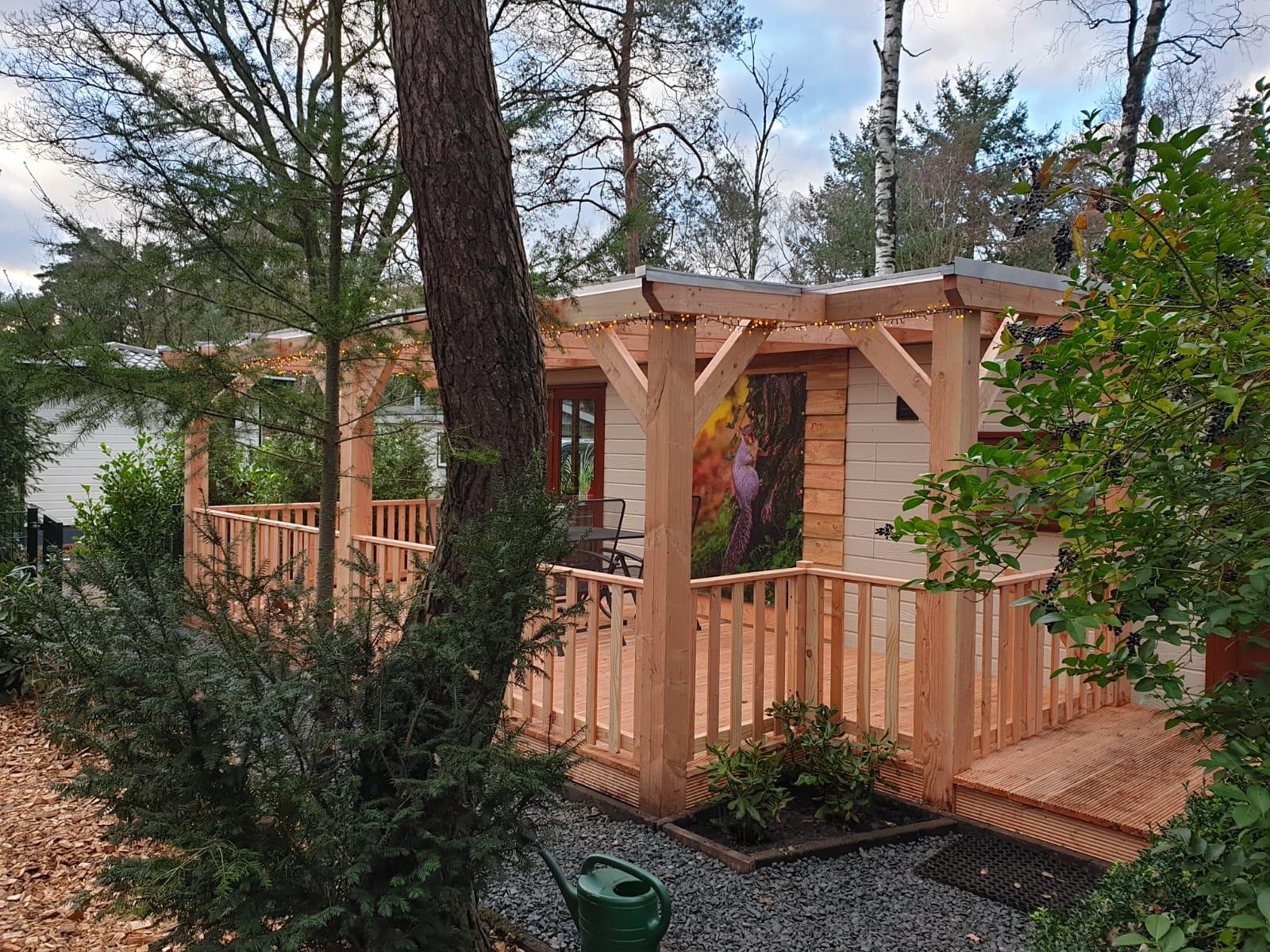 Chalet op bospark in Doornspijk met omheinde tuin